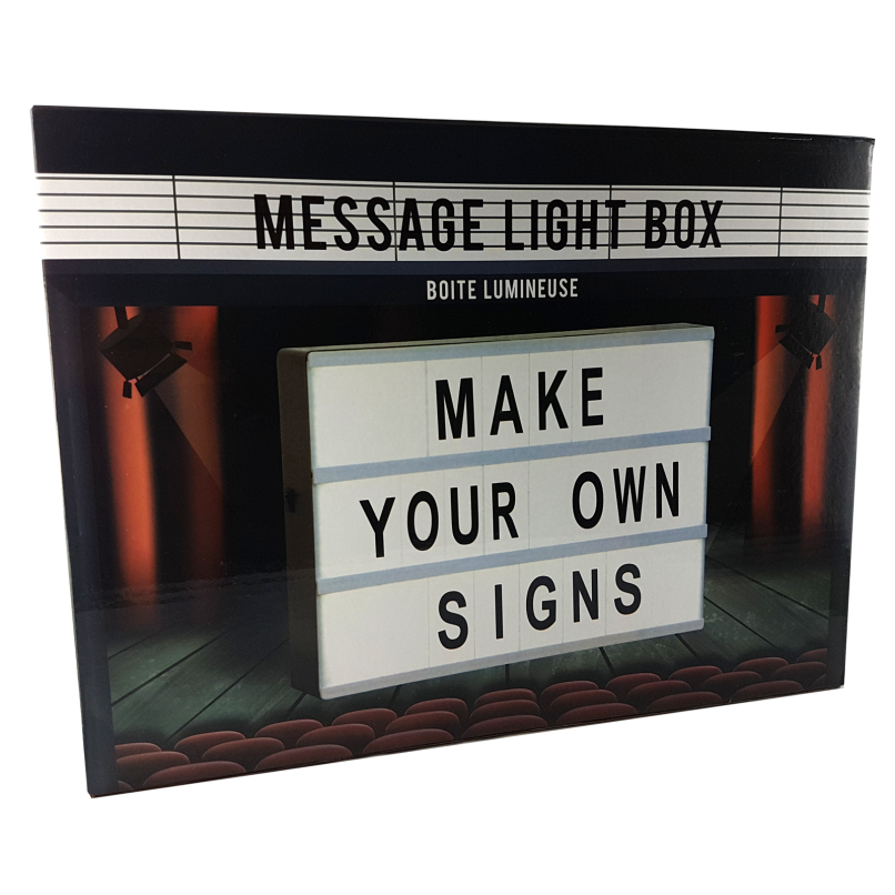 boite lumineuse messages a4 30x22cm light box happy stock. Black Bedroom Furniture Sets. Home Design Ideas