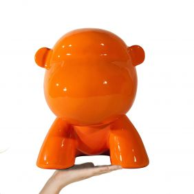 Sculpture déco résine GORILLA ORANGE 30cm